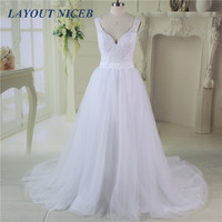 Vestido de Noiva V Neck Detachable Skirt Wedding Dress Sweep Train Wedding Gowns Abiti da Sposa 2017 Casamento