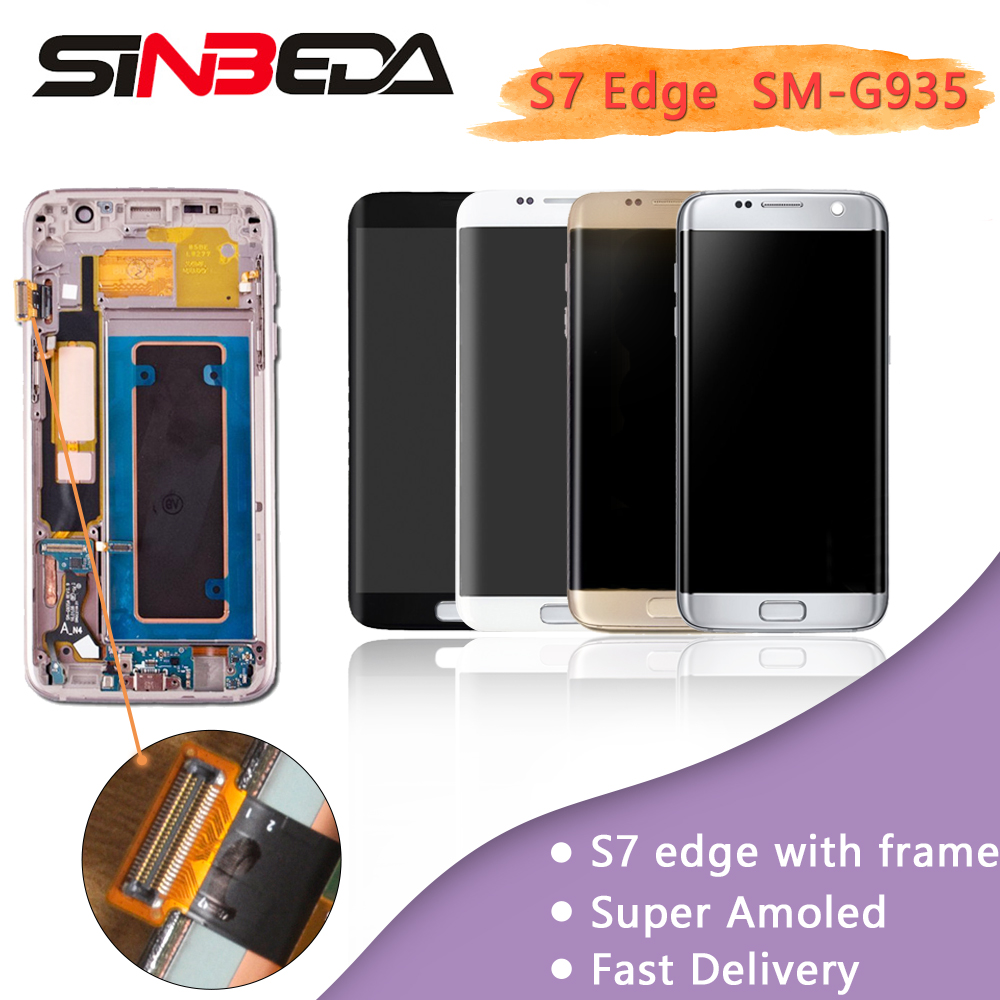 Original AMOLED 5.5 Display For Samsung Galaxy S7 Edge G935 G935F G935A LCD Touch Screen Digitizer Assembly Frame