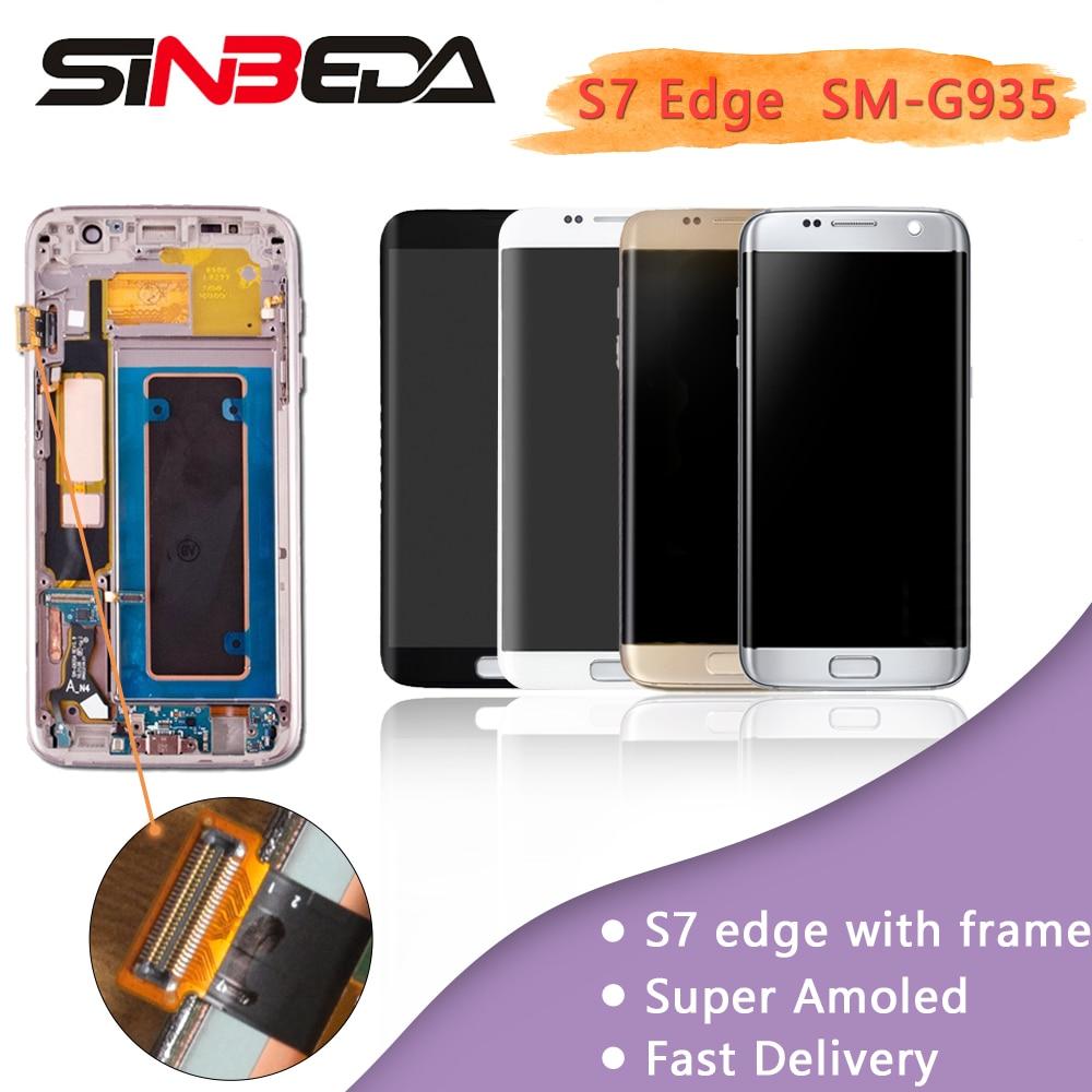 Sinbeda AMOLED AAA LCD Écran Pour Samsung Galaxy S7 Bord G935 G935F G935A LCD Display + Écran Tactile Digitizer Assemblée avec Cadre
