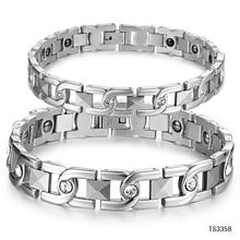 Chain & Link Lovers' Bracelet Anti-Fatigue Energy Balance Women Men Bracelets 316L Stainless Steel Health Care Jewelry GS3358