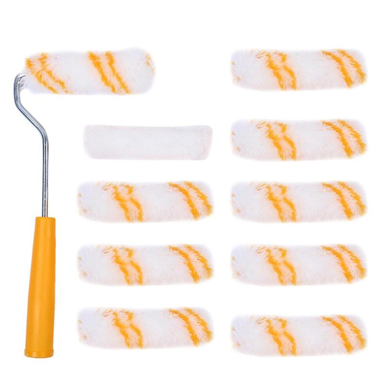 1 Set Home Painting Brush Wall Paint Roller With 10pcs Replacement Roller Covers