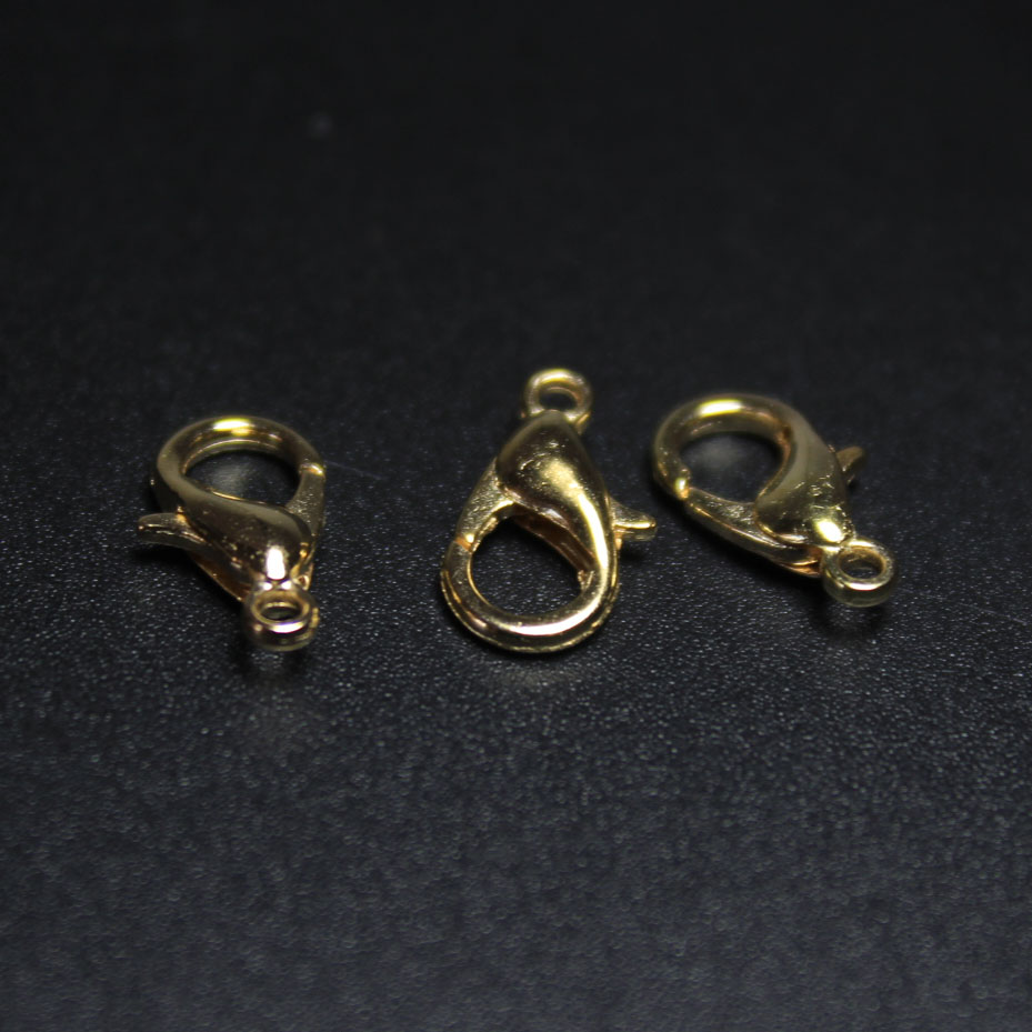 100 LOBSTER CLASPS LOT WHOLESALE GOLD PLATED 12mm