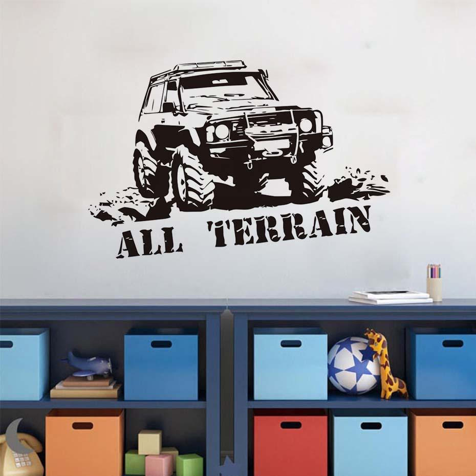 Home Interior Kids Us 13 99 17 Off Wall Decals Cartoon Car Funny Mountain Truck All Terrain Letters Home Interior Wall Decor Vinyl Removable Sticker For Kids Room In