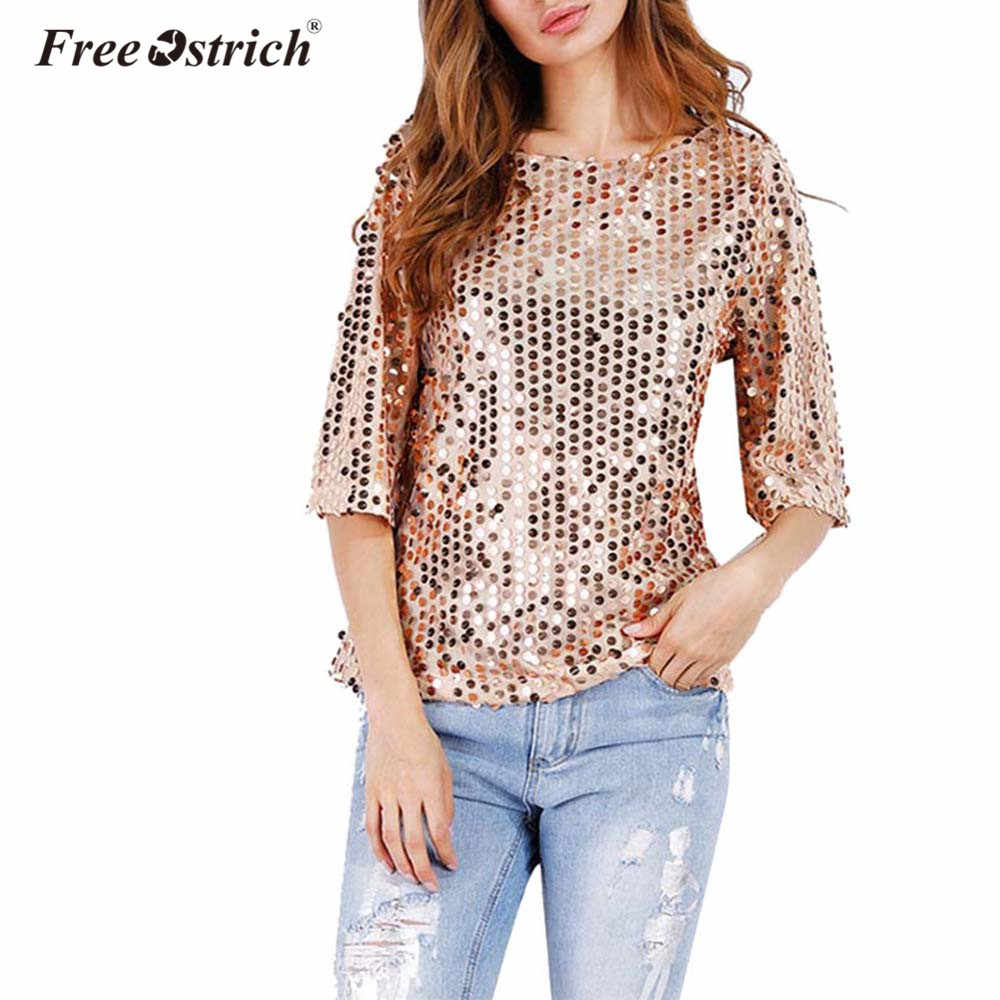 Free Ostrich 2019 Fashion Women Sexy Loose Sequined Glitter Summer Casual  Shirts Vintage Streetwear Party Tops a371839d6138