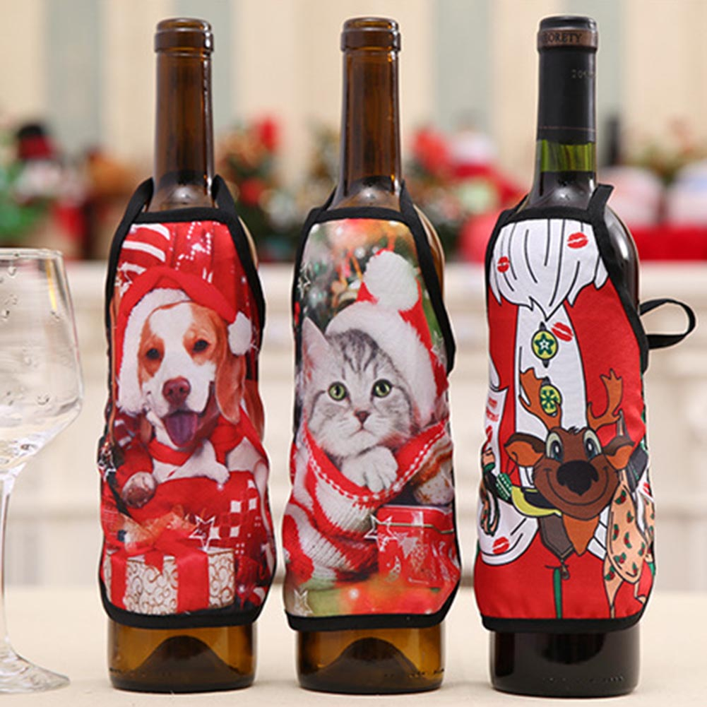 New 15*20cm Cats Dogs Print Christmas Apron Bottle Cover For Christmas  Decoration Wine Bottle Bottle Sets Xmas Party Supplies