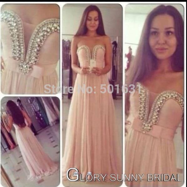 2014 Lente Nieuwe Collectie Hot Selling Sweetheart Crystal Kralen Roze Chiffon Floor Lengte Goedkope Formele Elegant Avond Prom Jurken