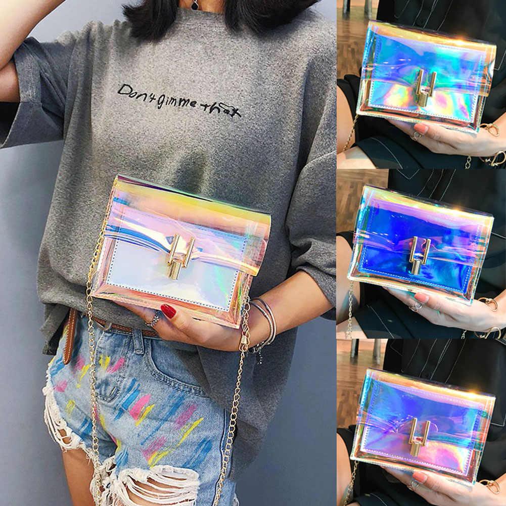 2019 Terbaru Fashion Tas Sesuai dengan Lebih Banyak Pakaian Wanita Hologram Tas Bening Transparan Tote Hologram Dompet Tas Tangan Laser Baru