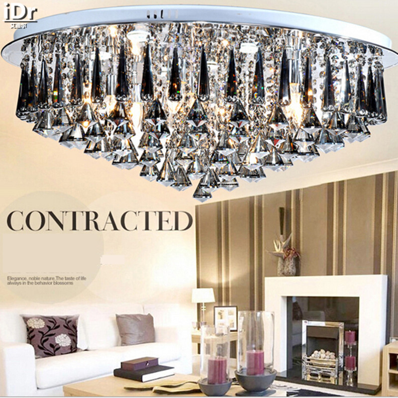 Luxury lamp LED Crystal smoke gray living room restaurant bedroom modern low-voltage lights circular fashion Ceiling Lights цены