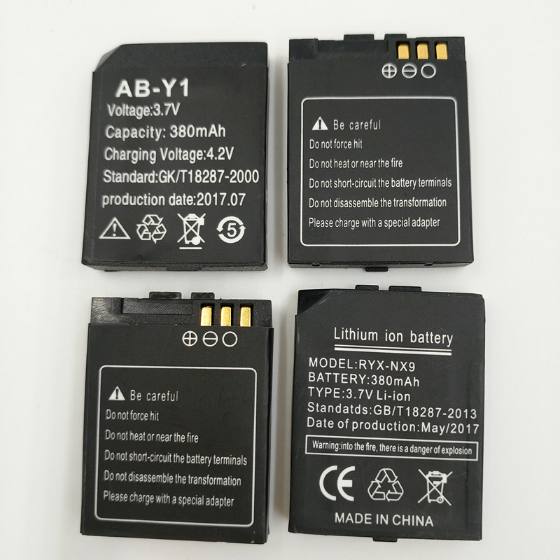 Image 5 - 1PCS/Lot rechargeable Li ion Battery 3.7V 380MAH Smart Watch Battery Replacement Battery only For Smart Watch Y1-in Smart Accessories from Consumer Electronics
