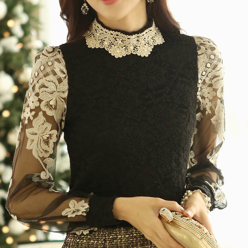 2015 Casual Floral Beading Turtleneck Long Sleeve Chiffon Shirt Ladies Lace Blouse Income Vintage Women's Clothing - Kero Fashion International store