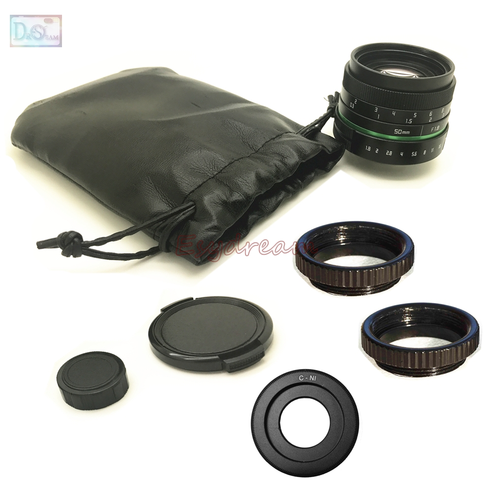 50mm F1.8 Manual Lens + C Mount Adapter + Macro Rings Kit for Nikon 1 Nikon1 J1 J2 J3 J4 J5 V1 V2 V3 S1 S2 AW1 Camera meke meike mk 35mm f1 7 large aperture manual focus lens for nikon1 v1 v2 v3 s1 s2 j1 j2 j3 j4 j5 cameras