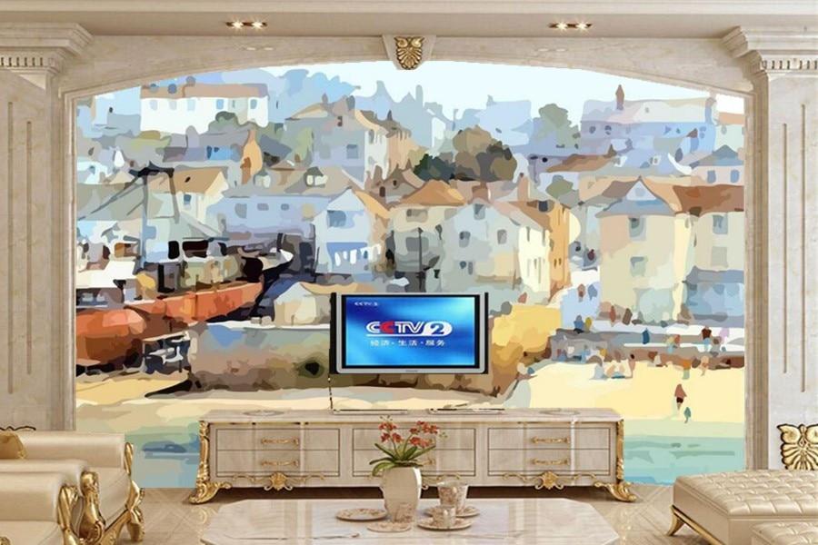 Custom European Classic Beach House Painting Wallpaper,hotel Room Coffee Shop Living Room TV Sofa Bedroom Murals Papel De Parede
