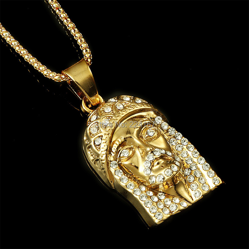 New fashion gold filled plated jesus necklace with god bless logo ...