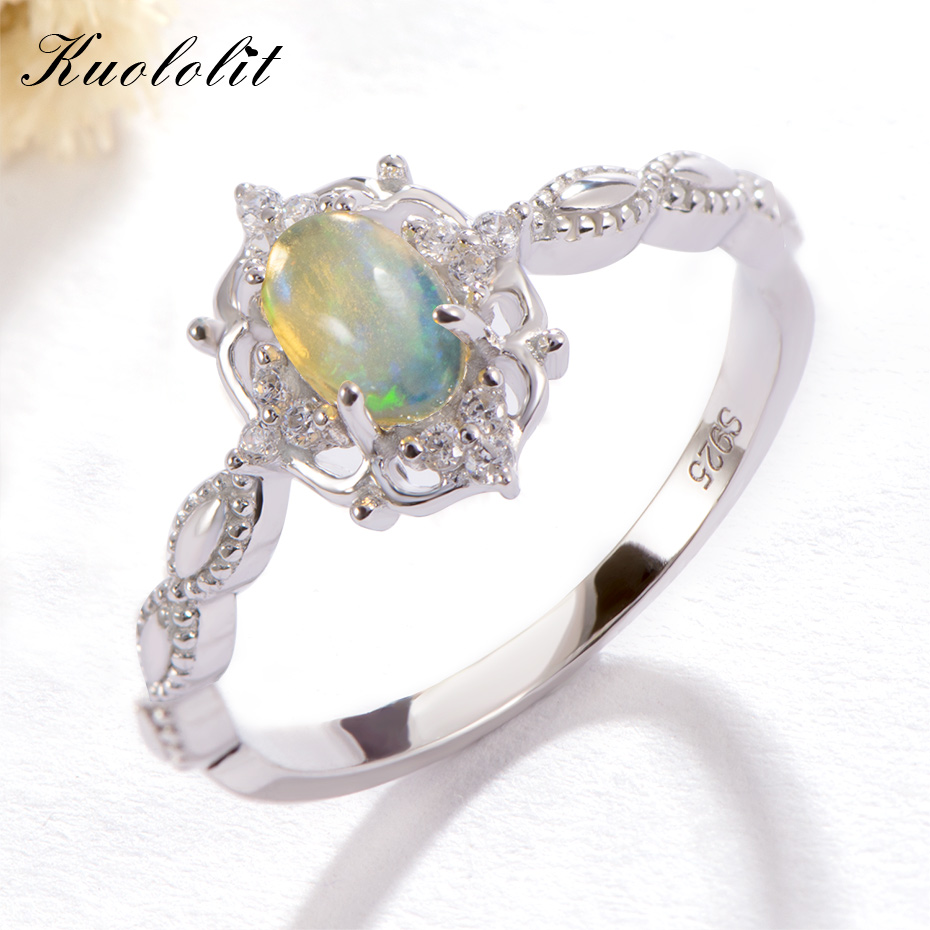 Kuololit Natural Opal Gemstone Rings for Women 925 Sterling Silver Fire Stone Size 10 Ring Wedding Engagement Gift Fine JewelryKuololit Natural Opal Gemstone Rings for Women 925 Sterling Silver Fire Stone Size 10 Ring Wedding Engagement Gift Fine Jewelry