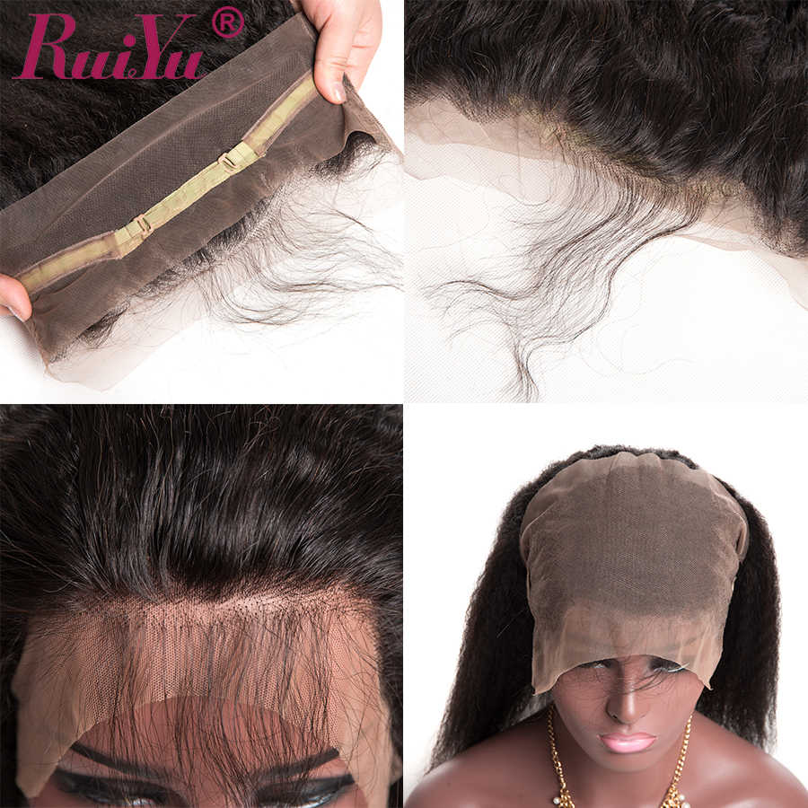 Perulu Sapıkça Düz Saç Ön Koparıp 360 Dantel Frontal Kapatma Ile Bebek Saç 100% İnsan Saç Remy Doğal Renk RUIYU saç