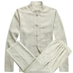 Ternos dos homens de kung fu tang terno conjuntos de vestuário tradicional chinesa para os homens calças dos homens tops barato oriental tai chi bruce lee roupas