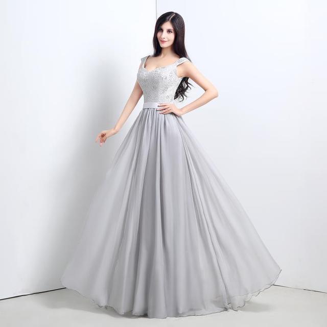 d5dd28302 Elegante Gris Claro Vestidos de Noche V Cuello Cap de Encaje Gasa Vestidos  de Noche Largos