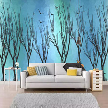 Customized 3d murals deer forest artistic conception bird background wall decoration painting wallpaper mural photo