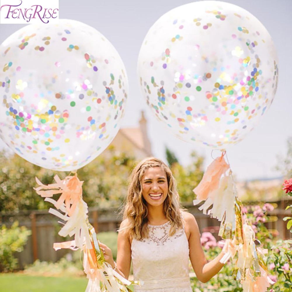 FENGRISE 36inch Large Confetti Balloon Wedding Decoration Inflatable Clear Latex Balloons Birthday Party Decoration Party Decor