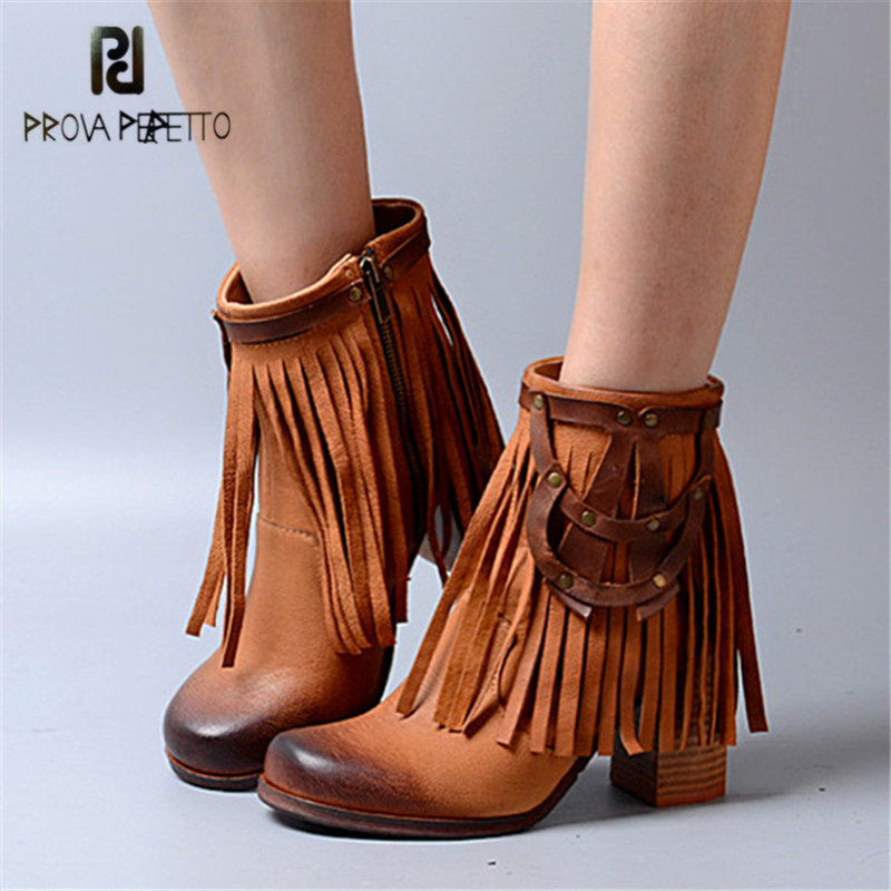 Prova Perfetto Full Fringed Ankle Boots for Women Chunky High Heel Shoes Woman Genuine Leather Botas Mujer Tassels Women Pumps prova perfetto brown women genuine leather high heel boot platform mid calf high boots buckle straps martin botas shoes woman