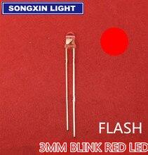 1000Pcs 3 Đỏ Đèn Diode Tự Động Đèn LED Điều Khiển Đèn Flash Nhấp Nháy 3 Mm Nhấp Nháy LED diodo 1.5HZ(90 96 Lần/Phút