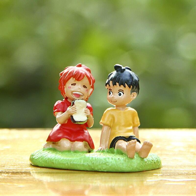 1pcs Studio Ghibli Miyazaki Ponyo On The Figure Toy Ponyo & Sousuke Cute Resin Action Figures Toys Collection Model Kids Toy