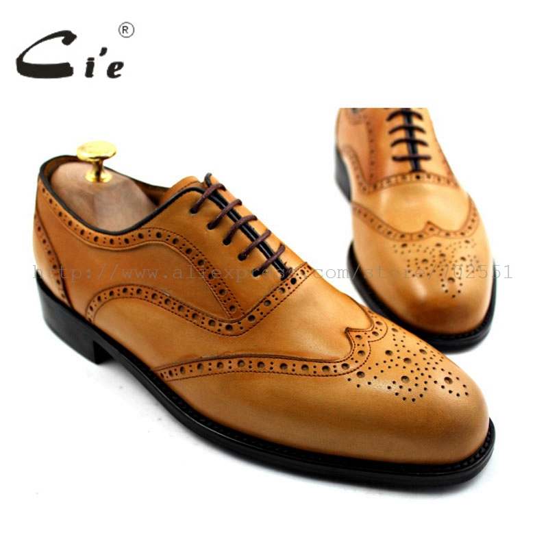 все цены на  cie round toe wingtips brogues bespoke custom handmade genuine calf leather upper outsole men's oxford shoe color brown OX185  в интернете
