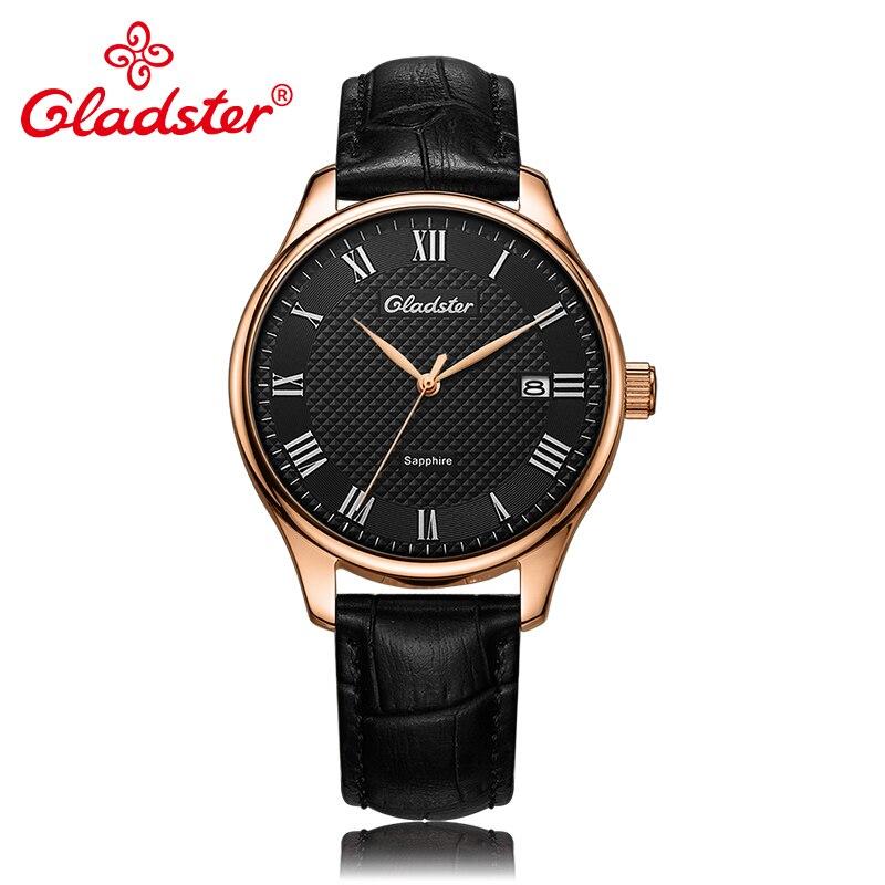 Gladster роскошные японские MIYOTA2315 модные кожаные мужские наручные часы простые золотые мужские кварцевые часы сапфировое стекло Мужские часы ...