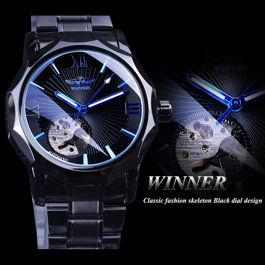 automatic mechanical watch men steampunk skeleton Luxury Design Blue Belt Business Fashion Men's Mechanical Watch #4