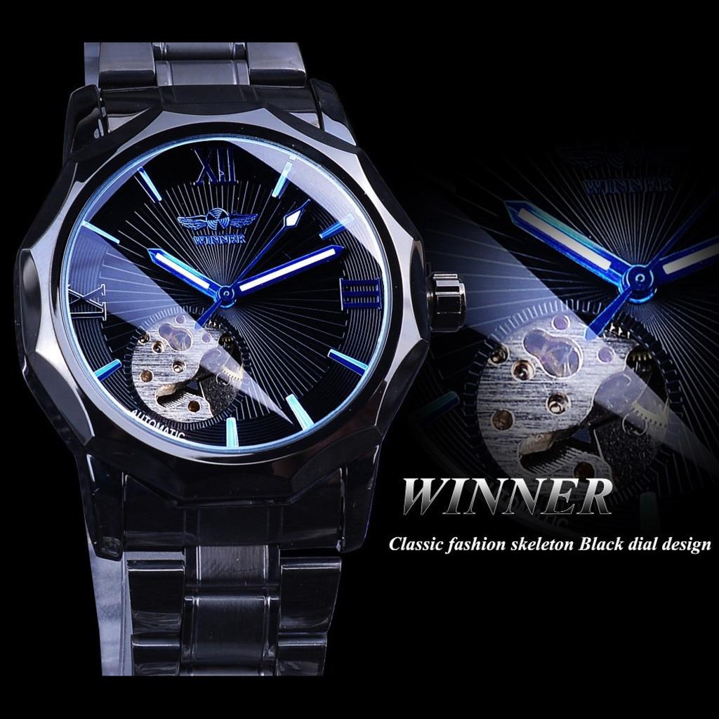 automatic mechanical watch men steampunk skeleton Luxury Design Blue Belt Business Fashion Men's Mechanical Watch #4