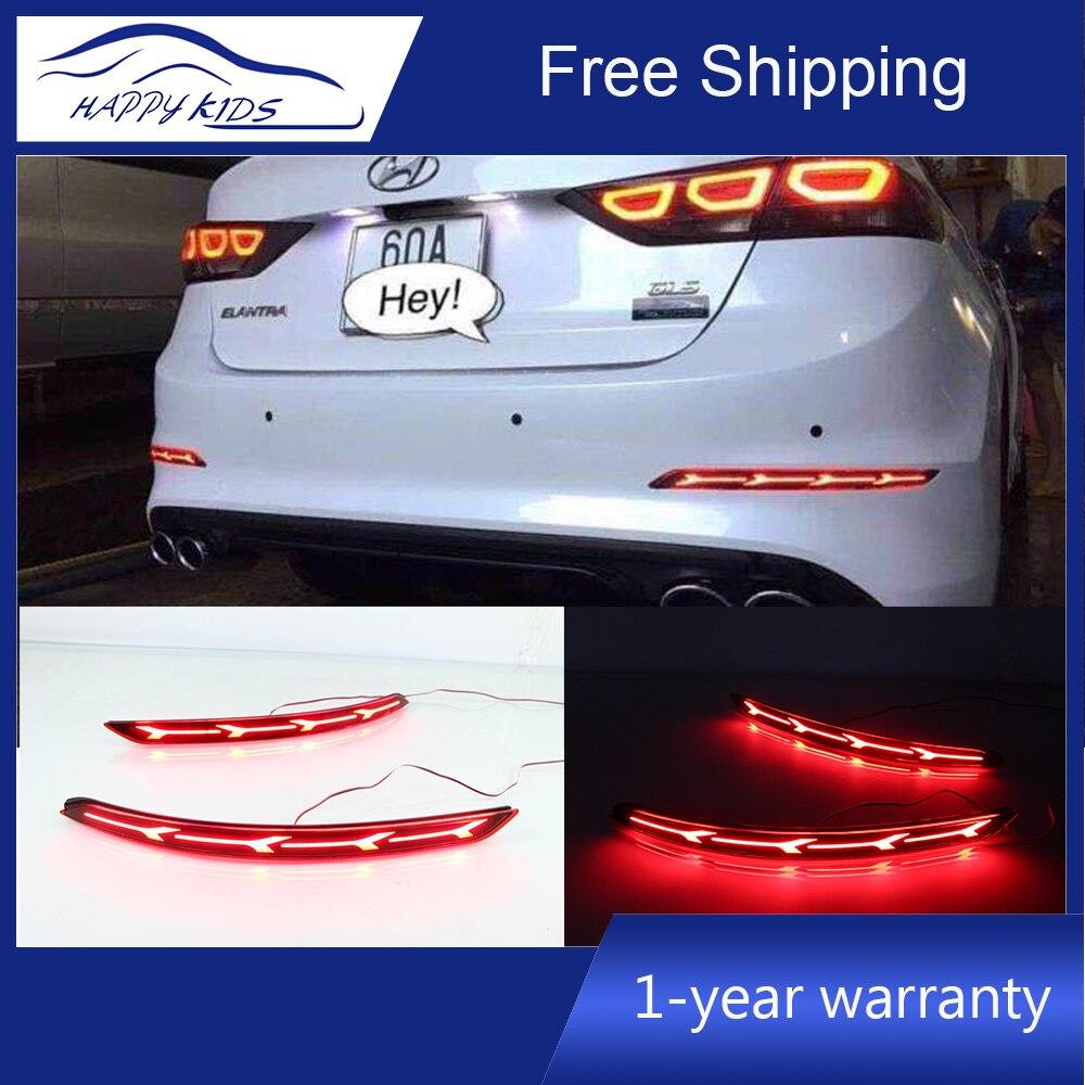 Car styling LED Bumper Lights For Hyundai Elantra 2016 2018 Reflector Bumper Lamp brake Light Driving