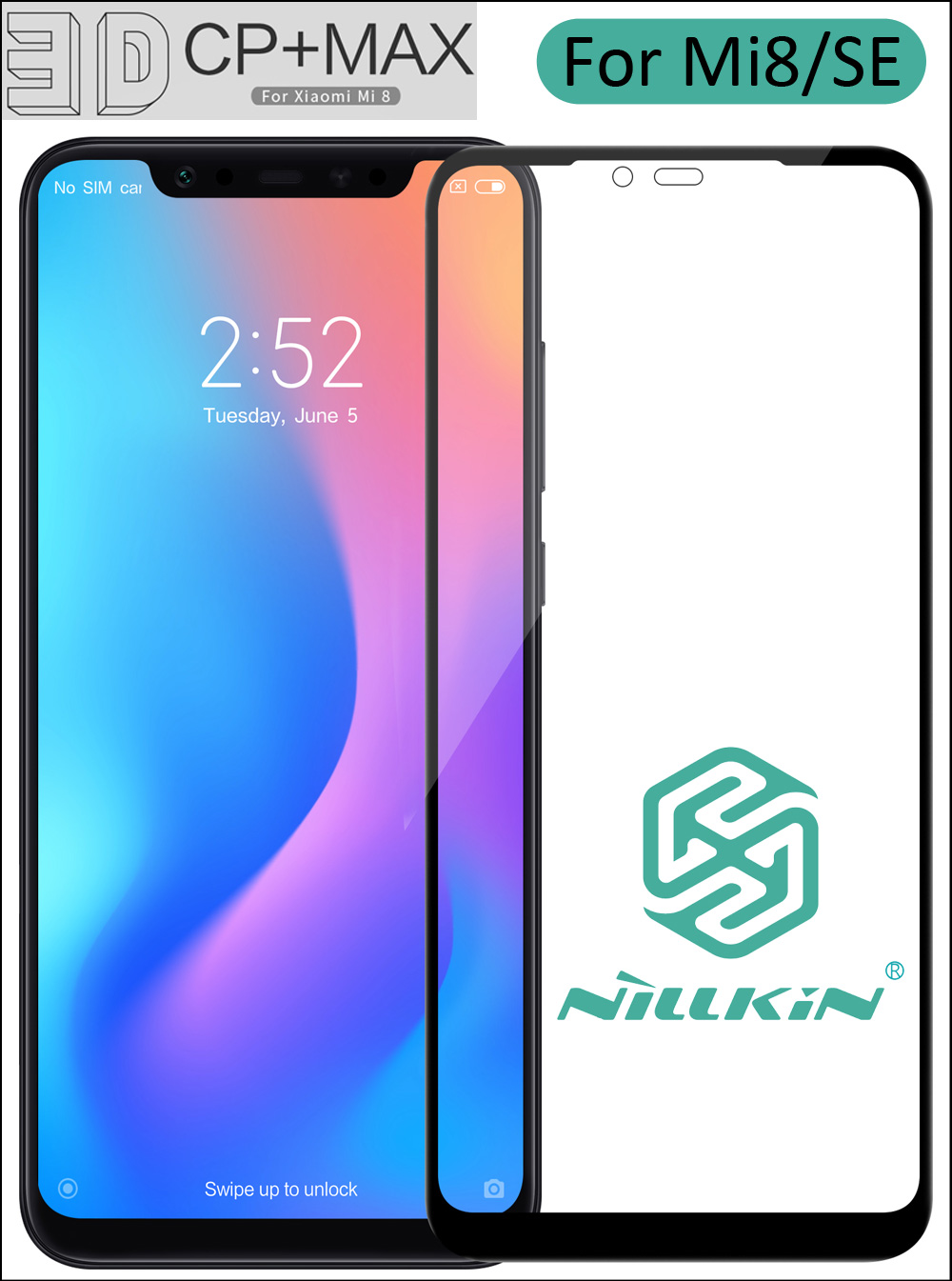 Nillkin 3D CP+ Max Tempered Glass For Xiaomi Mi8 Mi 8 SE Full Screen Cover Curved Protective oleophobic