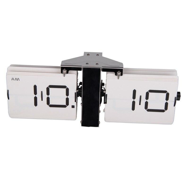 2018 cadeau créatif rétro numérique Auto Flip horloge en acier inoxydable cadran à engrenages à Quartz horloge Unique moderne horloges de bureau - 3