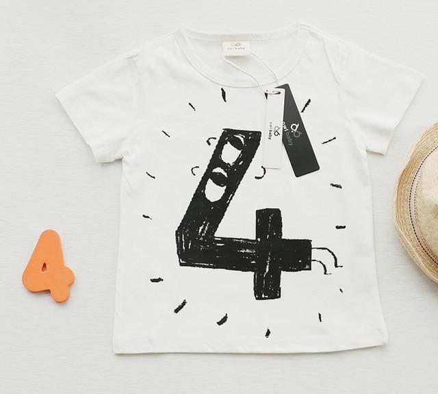 Baby Girls Boys T Shirts Children Birthday Number Cotton Cartoon Tees For Kids Summer