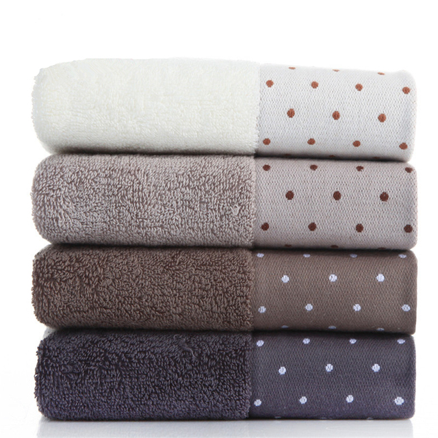 34x72cm 100% Cotton Absorbent Dot Pattern Solid Color Soft Comfortable Men Women Bathroom Travel Hand Face Towel
