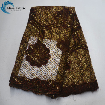 Hot Selling African Lace Fabric 5 Yards/Piece Velvet Embroidery Lace French Water Soluble Lace With Sequins For Embroidery Dress