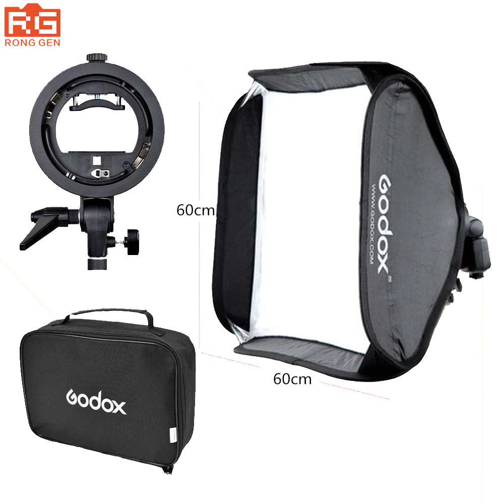 Godox 60 x 60cm Flash Softbox Kit with S-Type Bracket Bowen Mount Holder For Camera Photo Studio godox ad360 camera outdoor shooting flash kit ad 360 360w flash ft 16 wireless trigger ad s17 diffuser 60 60cm softbox