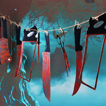 halloween decorations 12 pcs bloody plastic knife haunted house bar 12 xuedao string chamber haunted house decoration props hot - Bloody Halloween Decorations