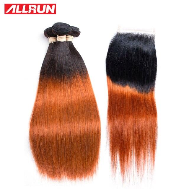 Allrun Mongolian Straight Hair Weave 3 Bundles T1b350 Color Non