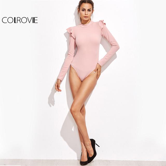 COLROVIE Woman Blouses Korean Styles Fashion Blouses Women Streetwear Pink Mock Neck Frill Trim Long Sleeve Bodysuit