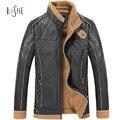Hombres de invierno chaqueta casual leather hombre bombardero abrigos vintage costura lana forrada cremallera cuero de la pu chaquetas de la capa