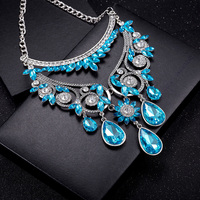 New 2017 Handmade Optional Statement Glass Crystal Choker Necklaces Blue Bib Collar Necklace Jewelry For Women