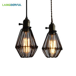 Top 10 largest metal wire lamp shade brands abajur 190x100mm industrial decor lamp cover shade edison iron vintage retro lampshade greentooth Image collections
