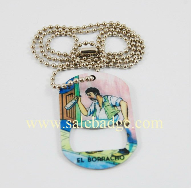 Professional customize fashion dog tag army tag hip hop bottle openers