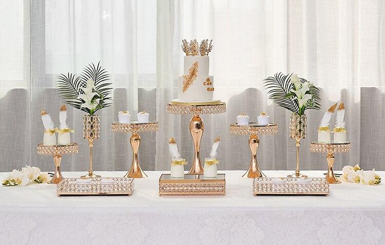 2019 luxe or gâteau décoration métal stand cristal grand gâteau mariage sucette cookie bonbons fruits décoration pan guidon