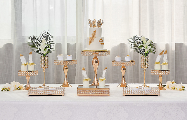 2019 Luxe Or Gateau Decoration Metal Stand Cristal Grand Mariage Sucette Cookie Bonbons Fruits Pan Guidon