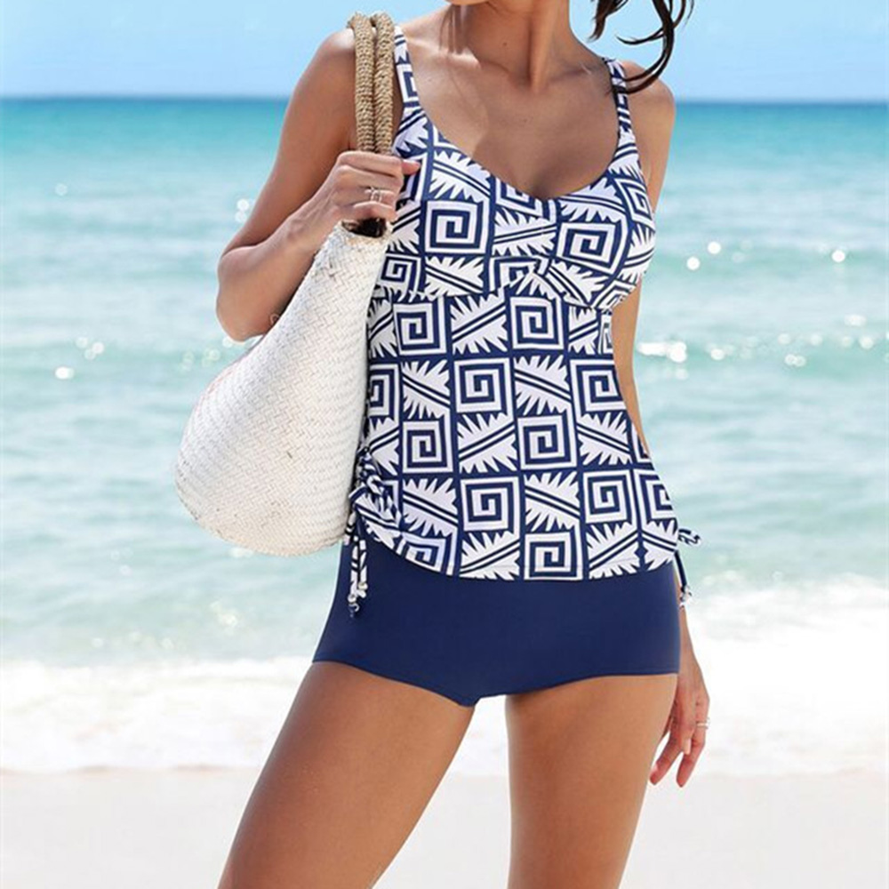 Two-piece Suit Tankini 2018 Two Piece Swimsuit Women Bathing Suit Printed Swimwear Female Summer Bathers Beach Wear Mayo stylish women s striped top briefs two piece swimsuit