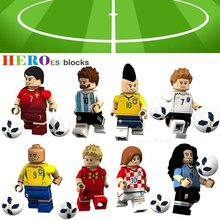 WorldCup Voetbal Team Speler Ronaldo Lionel Messi Neymar Beckham Bouwstenen Figuur Bricks Toy kids gift(China)