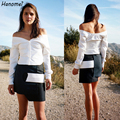 New Sexy Off The Shoulder Vneck Women's Shirt Short Blusas Feminina 2017 Long Sleeve White Cropped Tops Slim Women Blouses C33