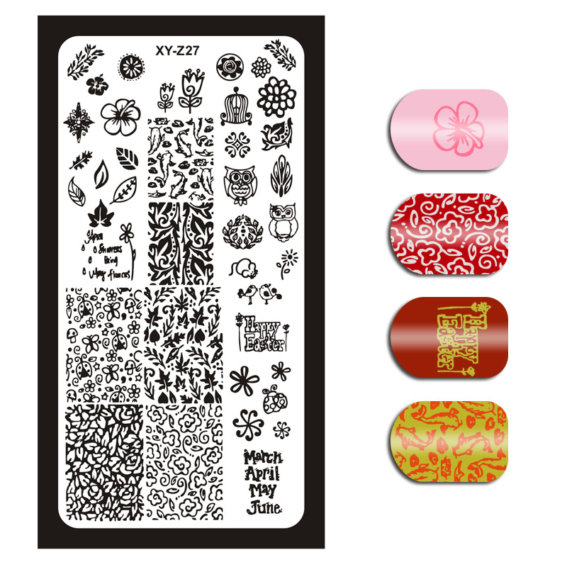 1x Nail Stamping Plates 32 Designs XYZ Series Print Image Template Stamping DIY Manicure Stamp Plate Stencil For Nails Art XYZ27
